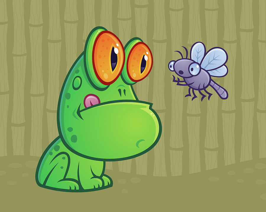 Frog And Dragonfly Digital Art