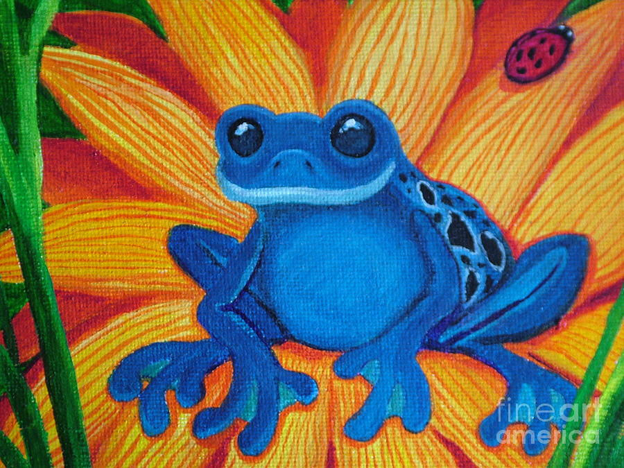 Frogs Painting - Frog And Lady Bug by Nick Gustafson