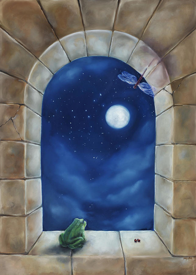 Frog Dream Window Painting By Mary Johnson