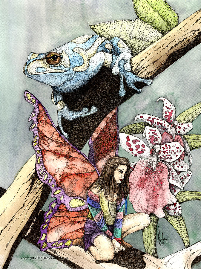 Frog Flowers And A Fairy Mixed Media by Preston Shupp