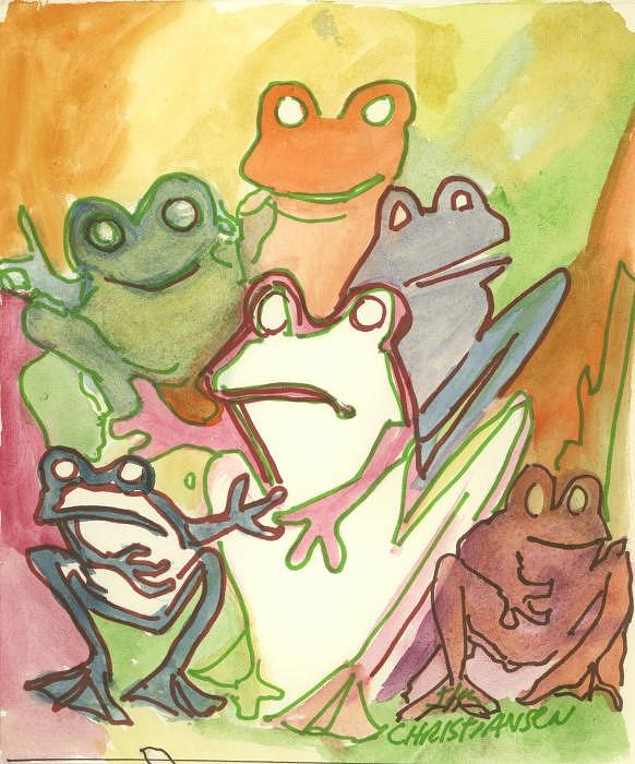 Frog Painting - Frog Group Portrait by James Christiansen
