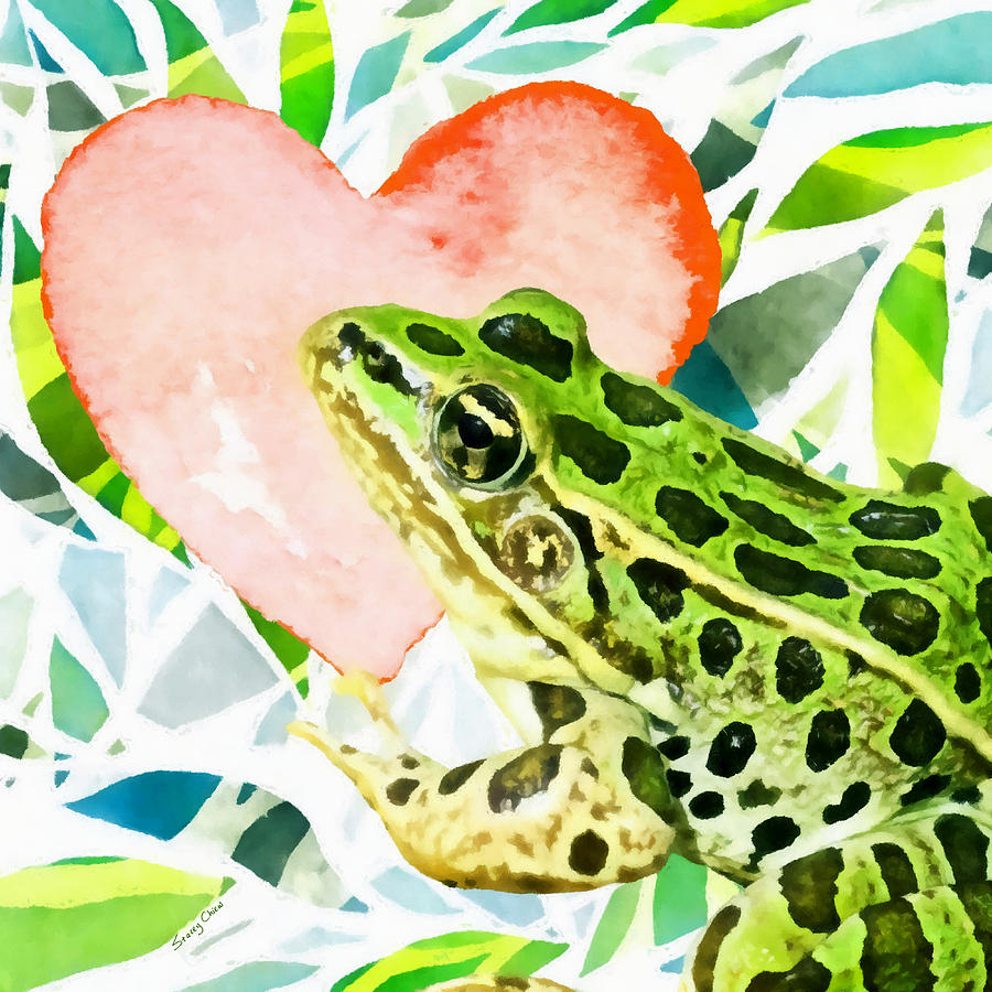 Frog In Love Mixed Media by Stacey Chiew