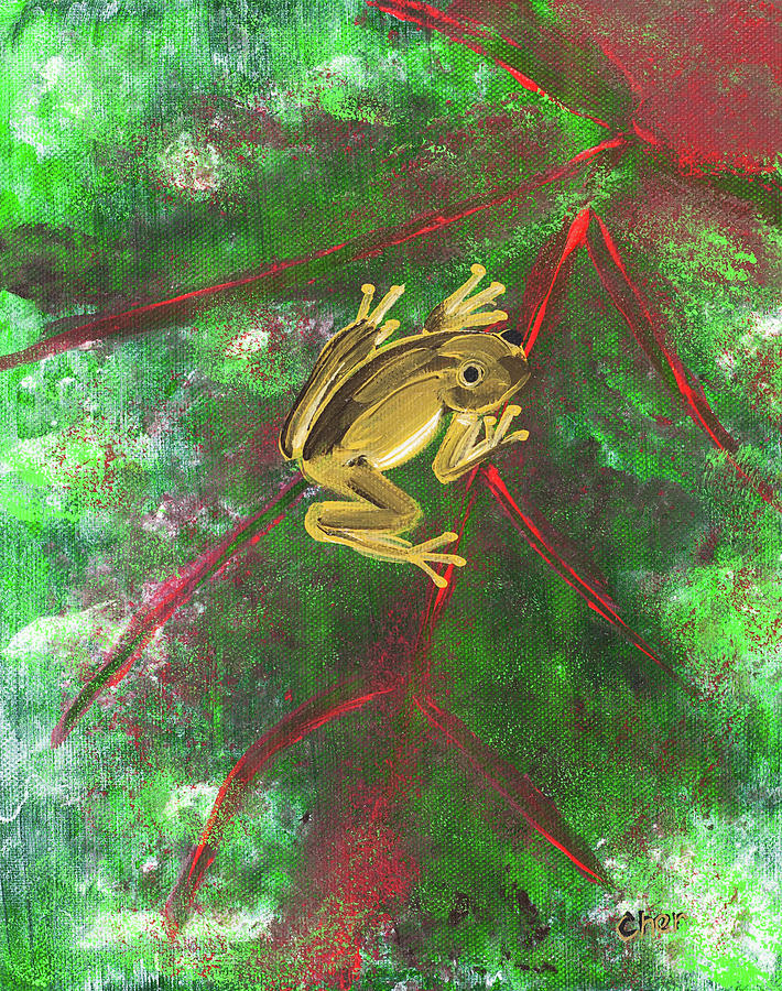 Frog Painting - Frog on a Leaf by Cheryl Phillips
