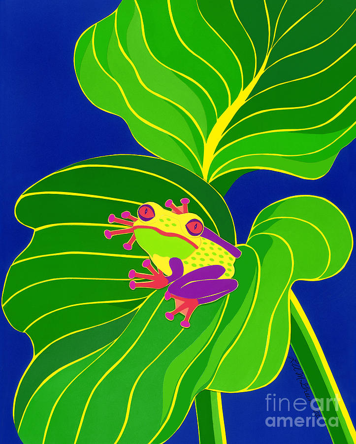 Nature Drawing - Frog On Leaf by Lucyna A M Green