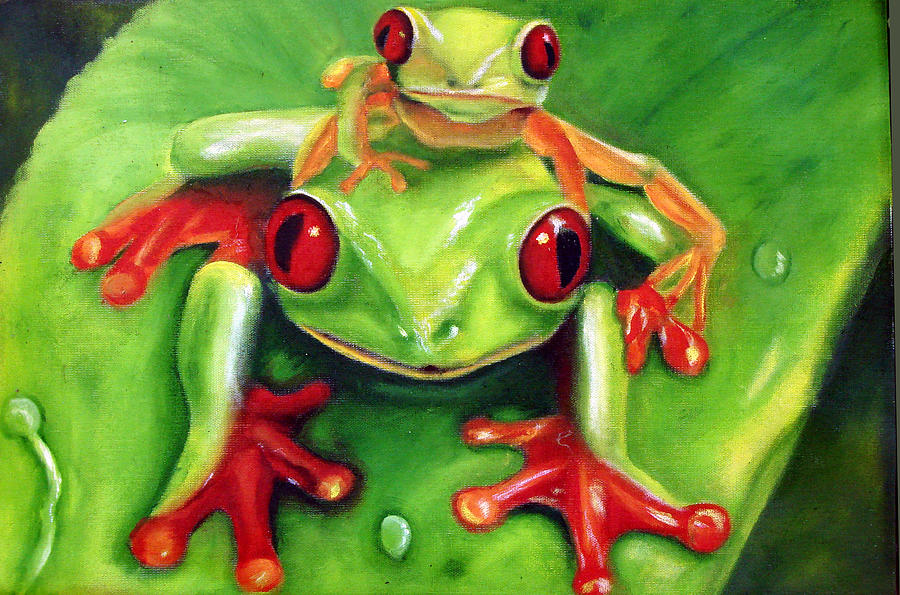 Red Eyed Tree Frog Painting - Frog Rodeo by Darlene Green