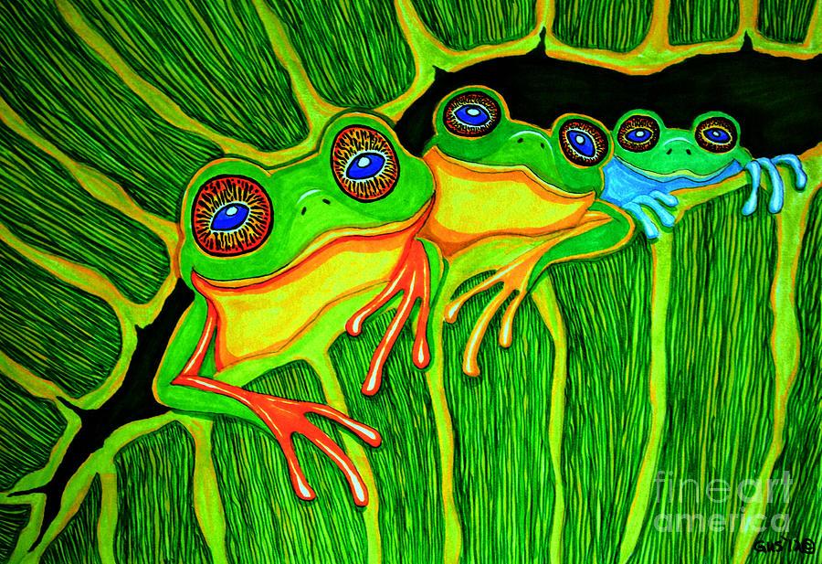 Frog Drawing - Froggie Trio by Nick Gustafson