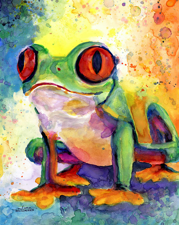 Frog Painting - Froggy McFrogerson by Arleana Holtzmann
