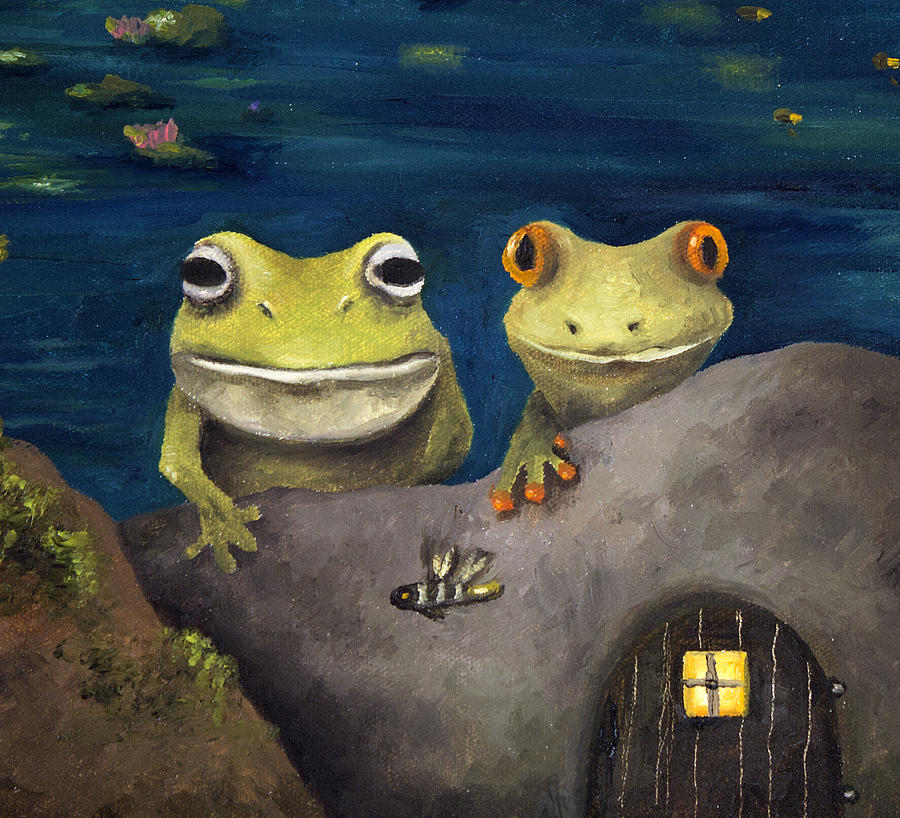 Frog Painting - Frogland Detail by Leah Saulnier The Painting Maniac