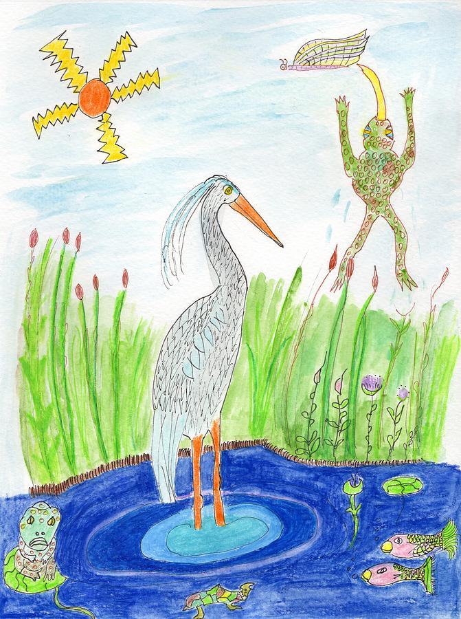Frogs, Heron, Pond, Sun  by Helen Holden-Gladsky