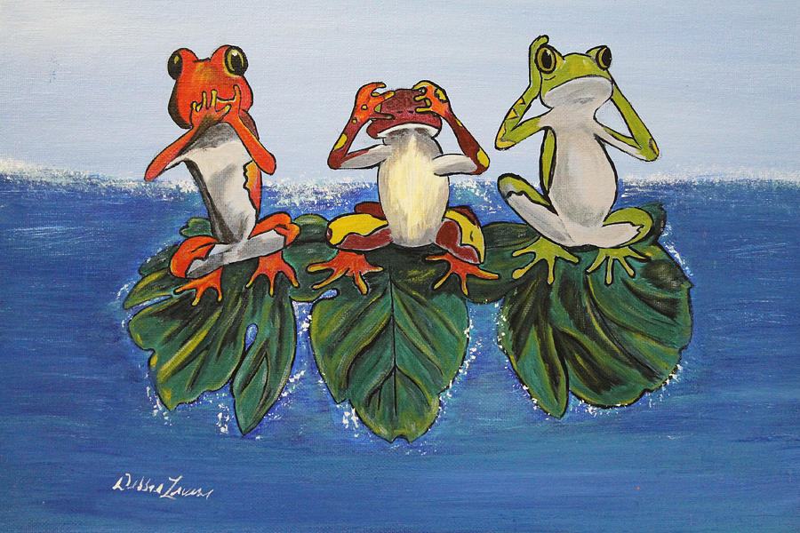 Frogs Painting - Frogs Without Sense by Debbie Levene