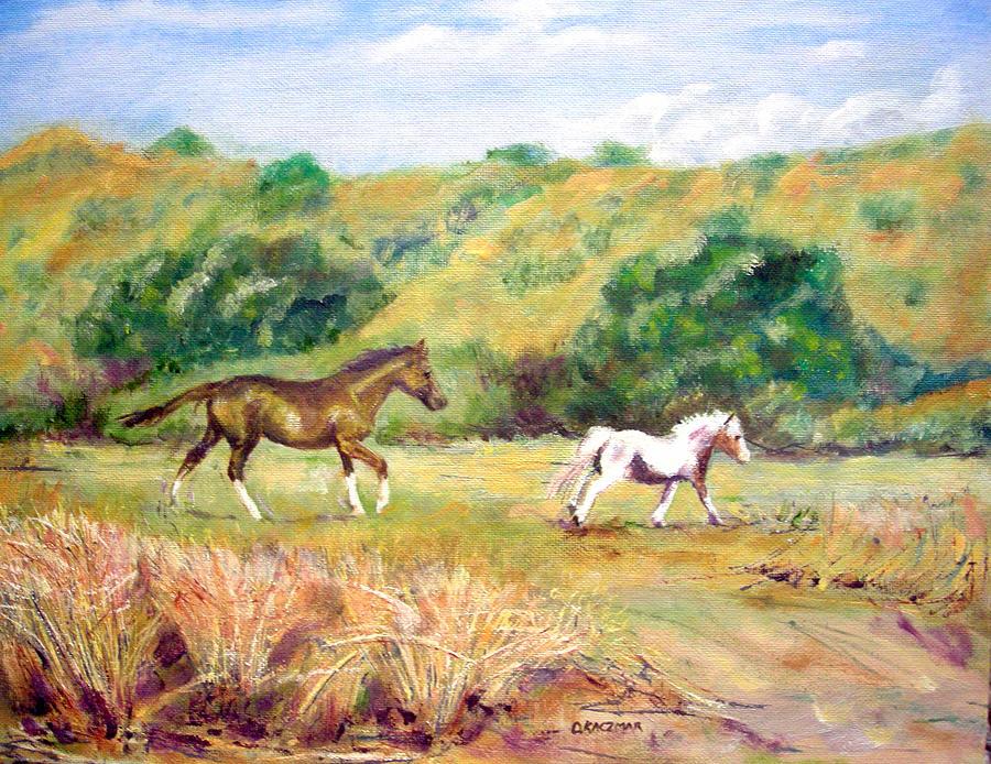 Landscape Painting - Frolic Near Alderbrook by Olga Kaczmar