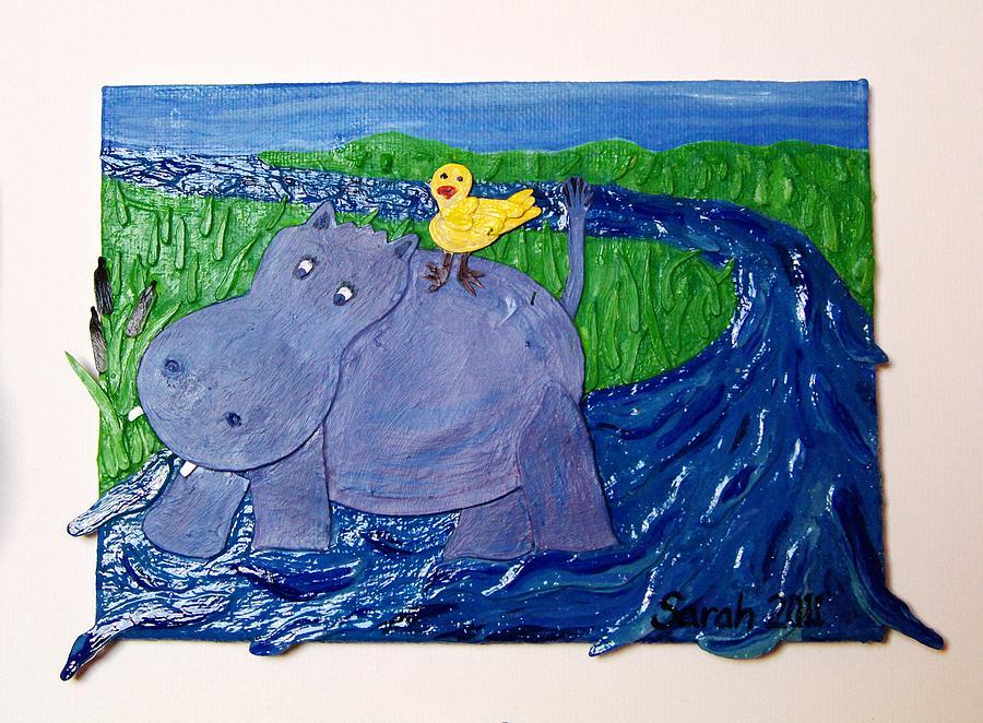 Hippo Mixed Media - Frolic With Hippo And Bird by Sarah Swift
