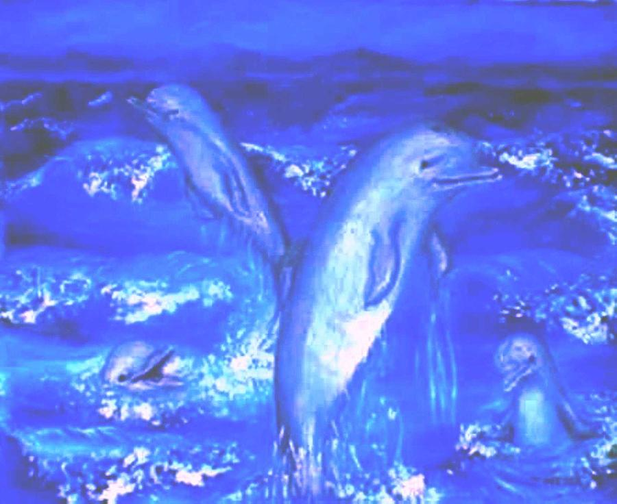 Frolicking Dolphins Painting by Tanna Lee M Wells
