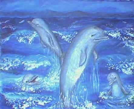 Frolicking Dolphins Print by Tanna Lee Wells