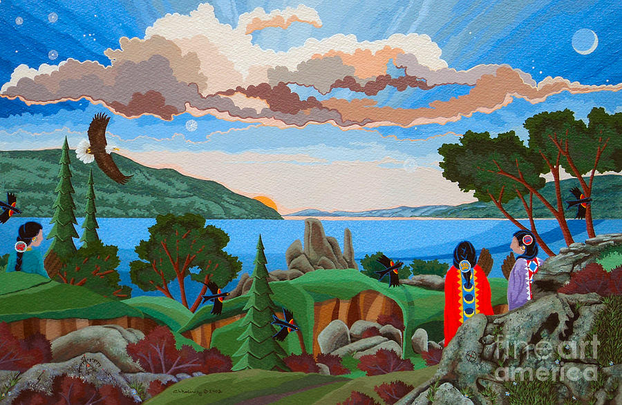 Native America Painting - From a High Place, Troubles Remain Small by Chholing Taha