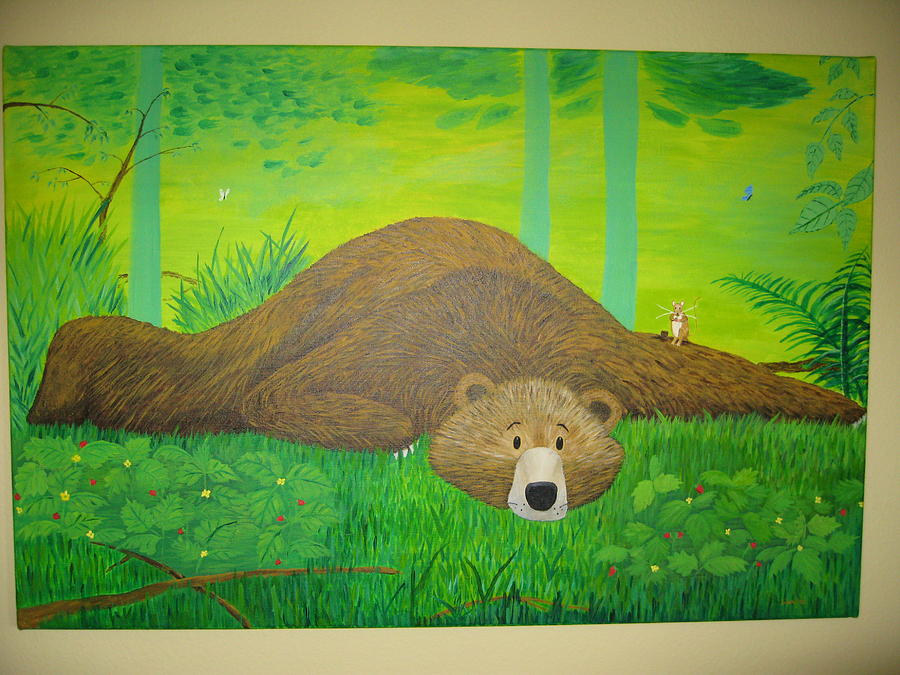 Childrens Book Painting - from Bear Snores On by William Walla