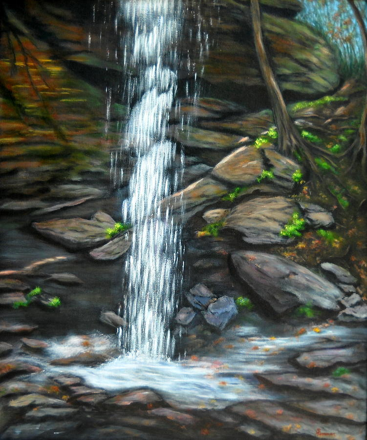 Waterfall Painting - From Behind Moore Cove Falls by Sandy Hemmer