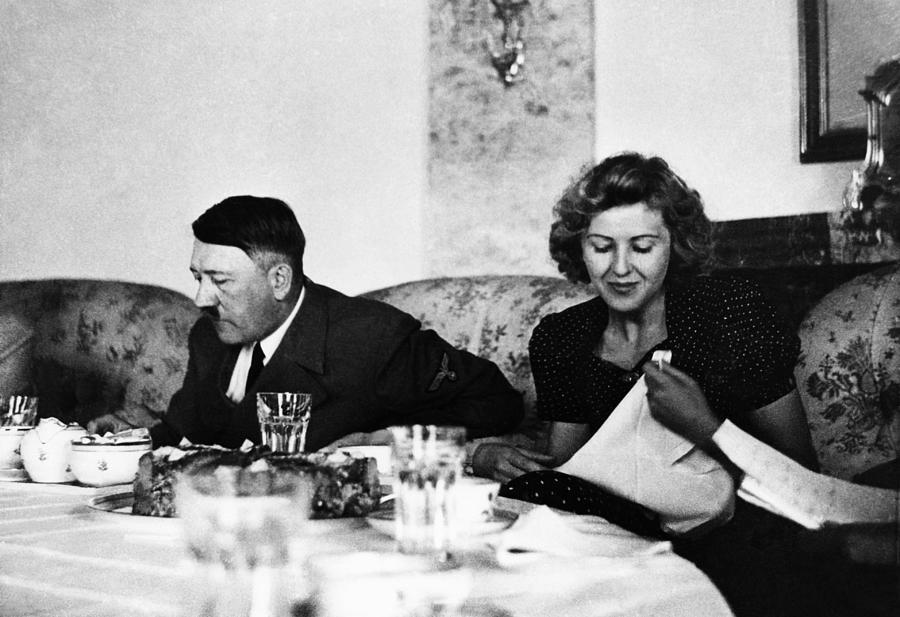 At Home Photograph - From Left, Adolf Hitler, Eva Braun, Ca by Everett