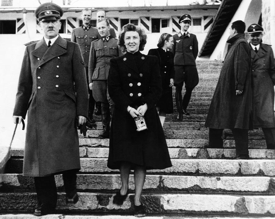 1940s Candid Photograph - From Left, Front, Adolf Hitler, Eva by Everett