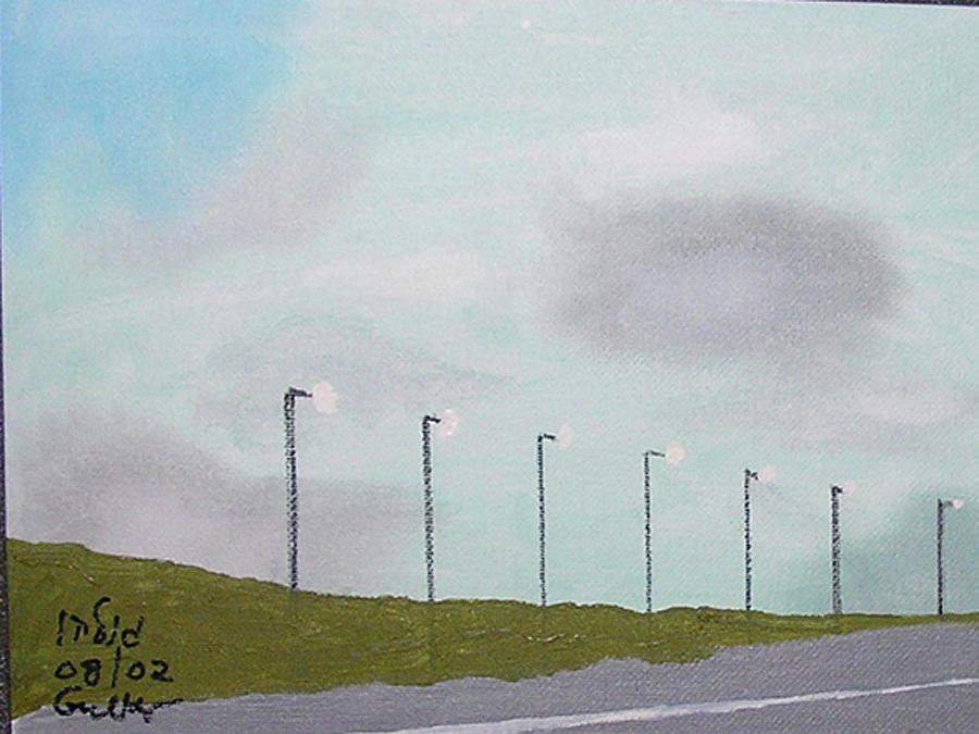 Highway Lights Painting - A Suburban Highway by Harris Gulko