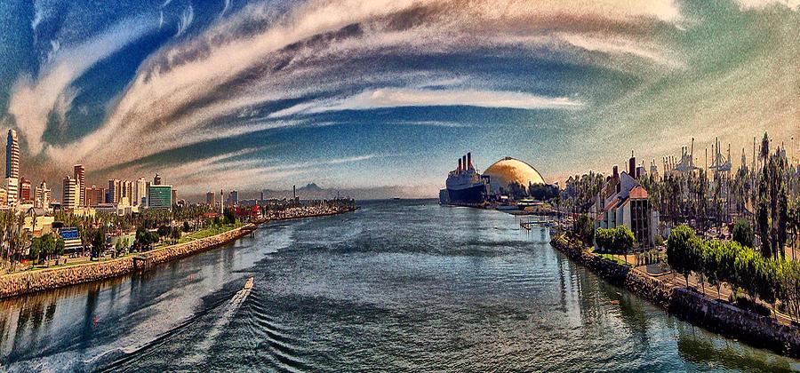 Long Beach Digital Art - From The Bridge by Bob Winberry