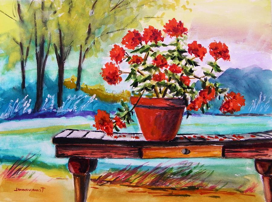 Geranium Painting - From The Potting Shed by John Williams