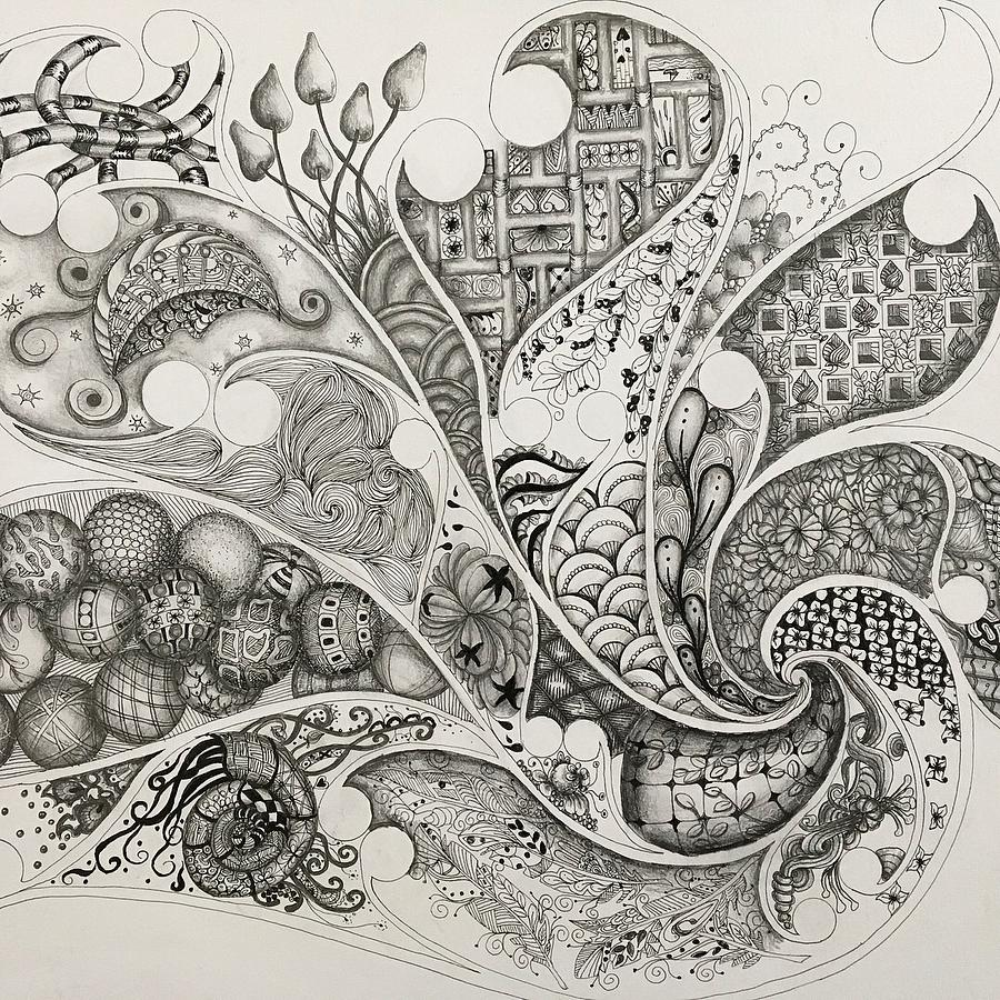 Abstract Drawing - From The Right by Rebecca Bowman
