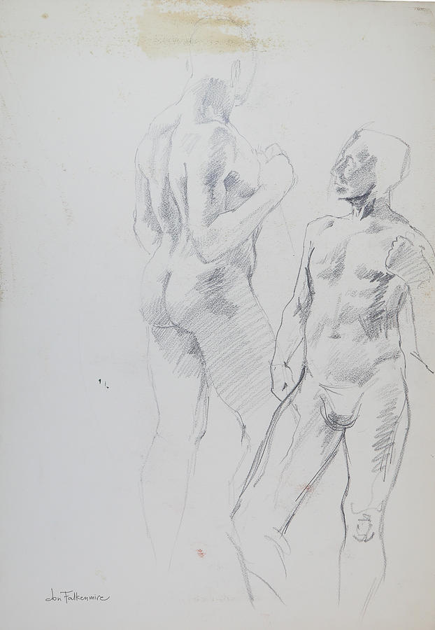 Front And Rear Standing Male, Forearm Raised. Student Work. Drawing