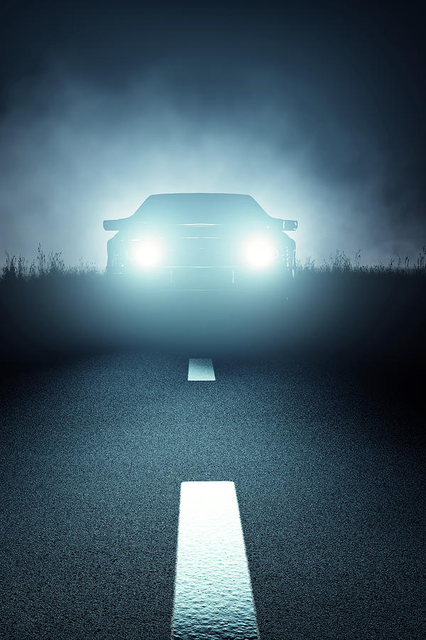 Car Digital Art - Front Car lights at night on open road by Johan Swanepoel