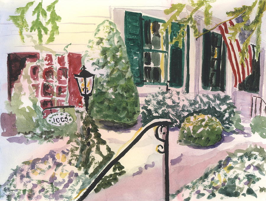 Landscape Painting - Front Porch At Alis House by Alice Kaplan