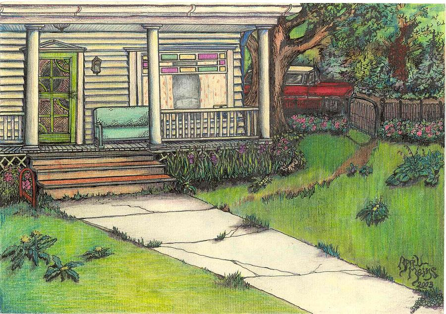 Country Drawing - Front Porch Homestead by April Mains