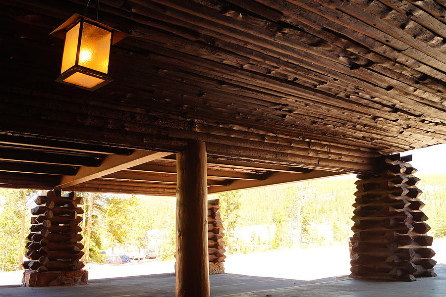 Architecture Photograph - Front Porch Of Old Faithful Inn by Beth Collins