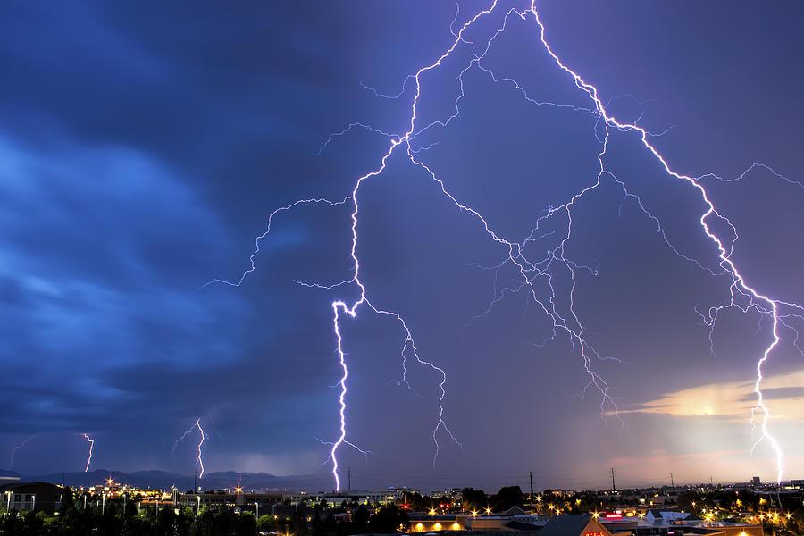 Lightning Photograph - Front Range Lightning by Dave Crowl