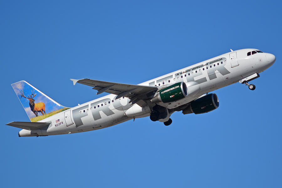 Airplane Photograph - Frontier Airbus A320-214 N213fr Montana The Elk Phoenix Sky Harbor January 12 2015 by Brian Lockett