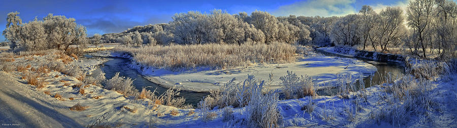 Winter Landscape Photograph - Frost Along The Creek - Panorama by Bruce Morrison