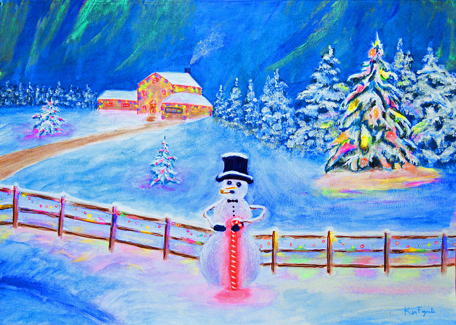 Snowman Painting - Frosties Northern Lights by Ken Figurski