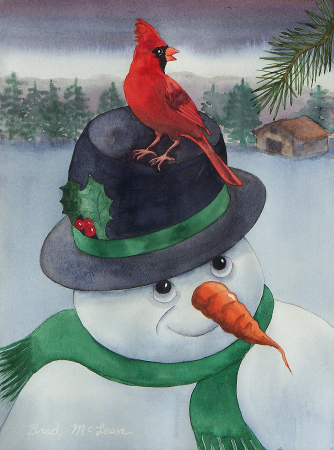Watercolor Painting - Frosty Friend by Brad McLean