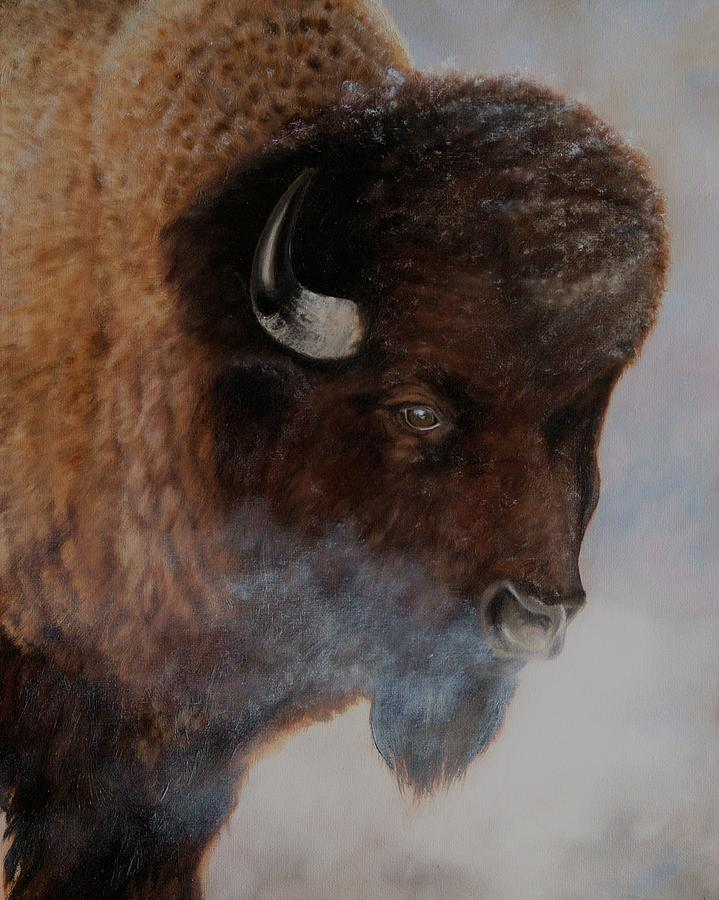 Bison Painting - Frosty Morning by Patrick Entenmann