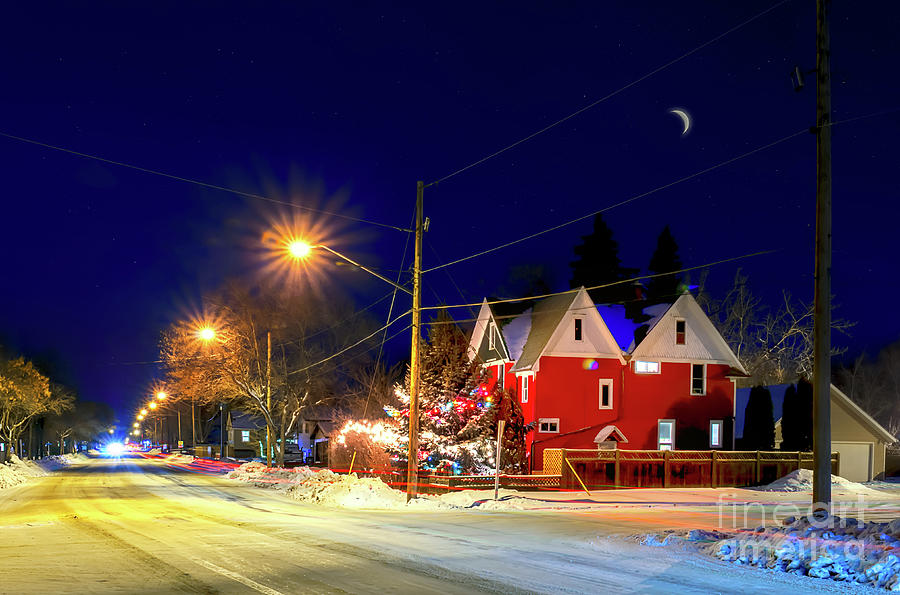 frosty photograph frosty snowy night before christmas in a small town by viktor birkus - Small Town Christmas