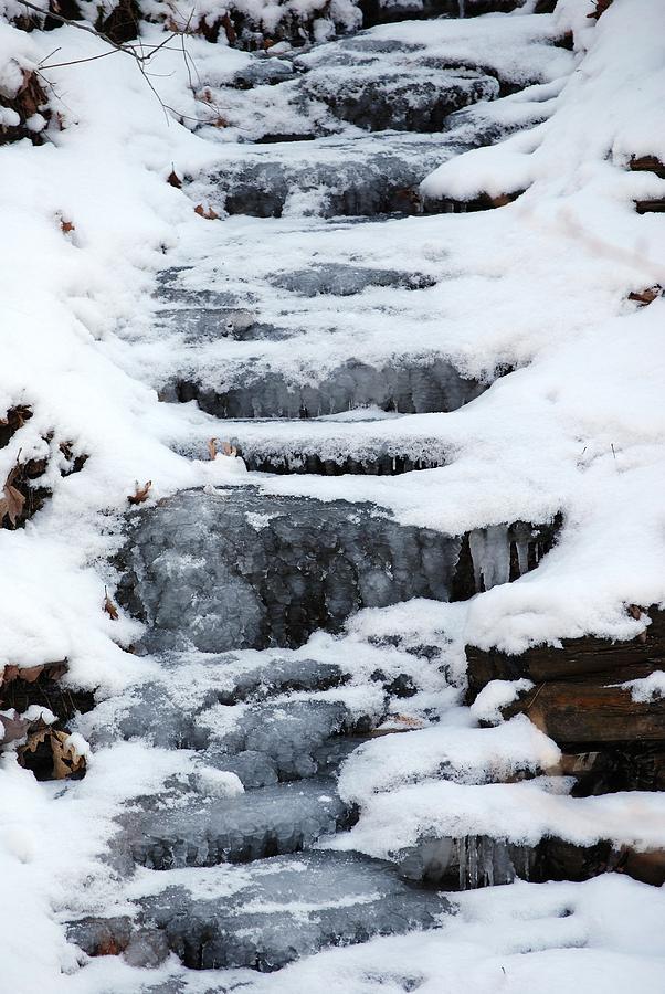 Winter Photograph - Frozen Falls by Peter  McIntosh