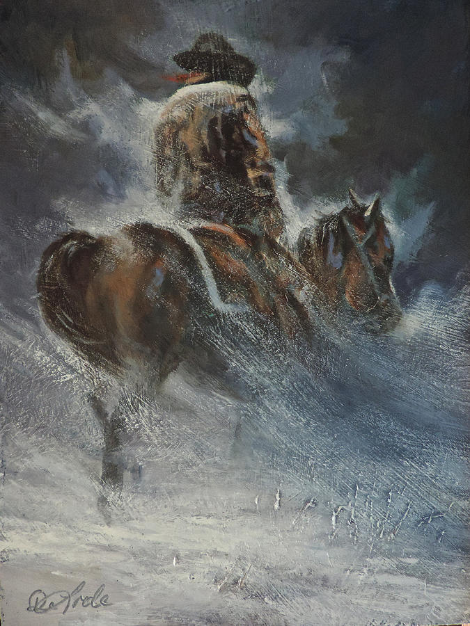 Cowboys Painting - Frozen Footsteps by Mia DeLode