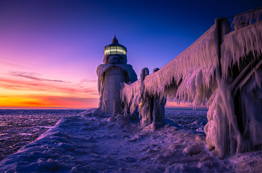 Frozen Lighthouse Sunset St Joseph Michigan Photograph By
