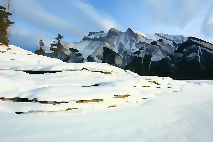 Mountain Scene Photograph - Frozen Mountain Lakeshore by Greg Hammond