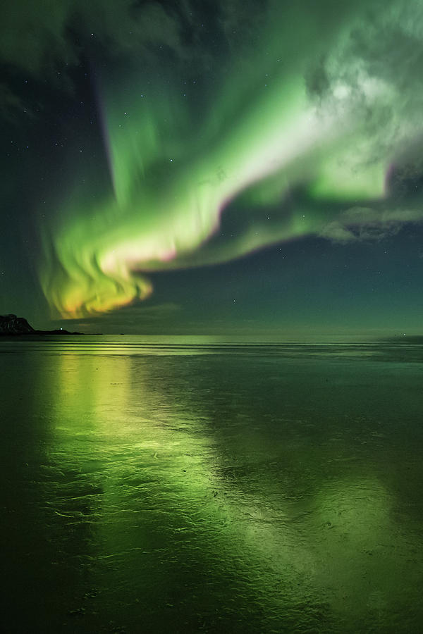 Northern Lights Photograph - Frozen Reflection by Alex Conu