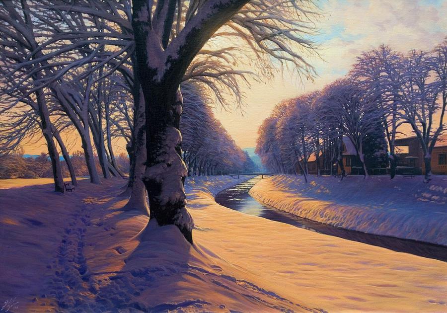 Landscape Painting - Frozen River by Davor Zilic
