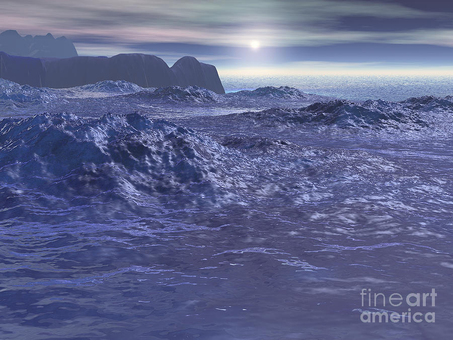 Neptune Digital Art - Frozen Sea of Neptune by Phil Perkins