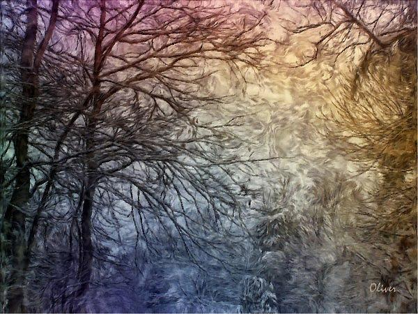 Impressionism Mixed Media - Frozen Skies by Charles Oliver