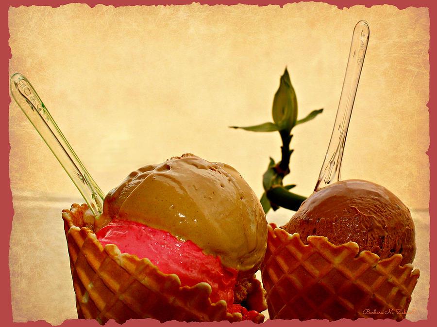 Ice Cream Photograph - Frozen Twosome by Barbara Zahno