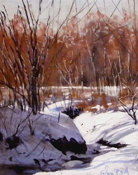 Landscape Pastel - Frozen Water Way by Tom Christopher