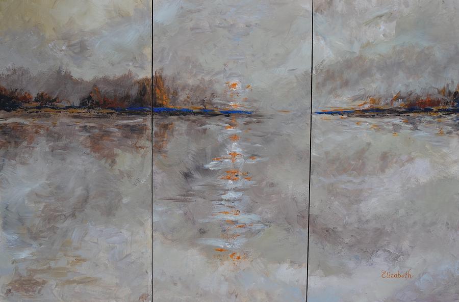 Frozen Painting - Frozern Fog Triptych by Beth Maddox
